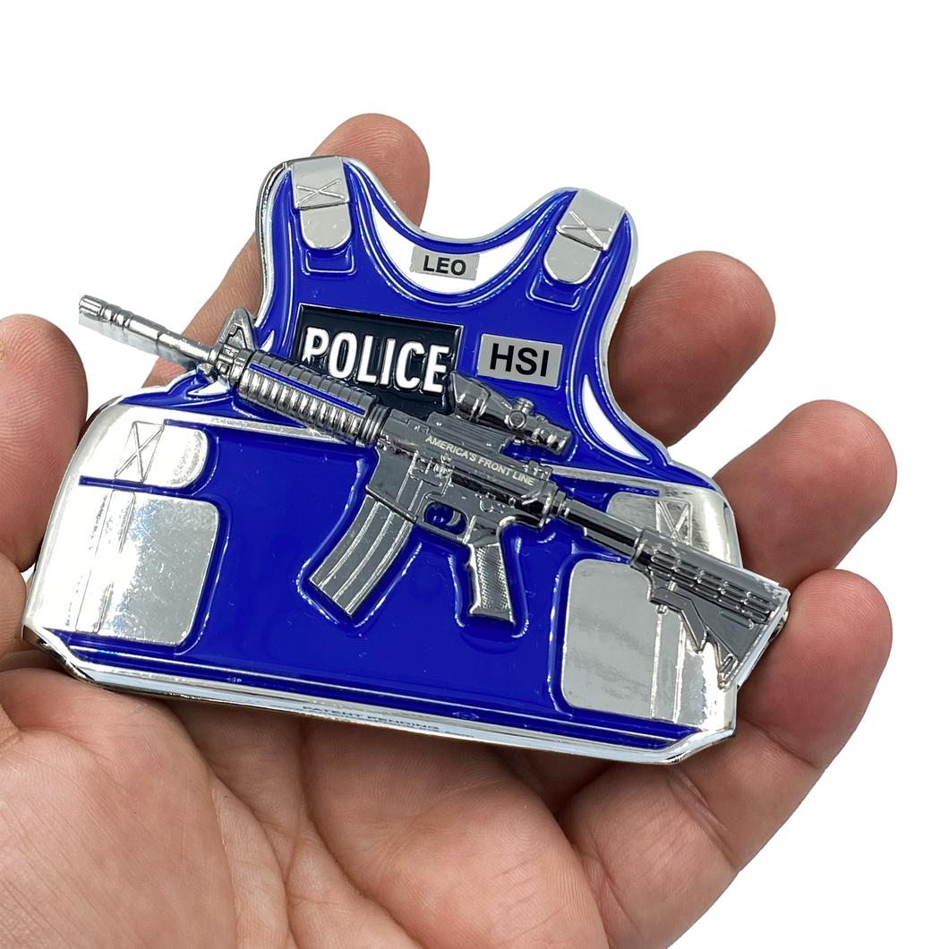 CL9-04 HSI M4 Body Armor 3D self standing Challenge Coin Special Agent Federal Officer Investigator Thin Blue Line