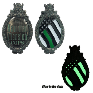 DD-006 Thin GREEN Line The Haunted Mansion Disney World Land inspired Challenge Coin Deputy Sheriff Army Marines Security Border Patrol