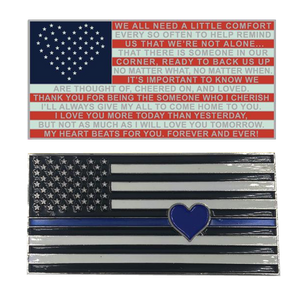 J-005 Thin Blue Line Flag with Heart and Love and Support message Challenge Coin