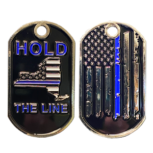 DL4-06 New York Thin Blue Line Challenge Coin Dog Tag NYPD Hold the Line Police Law Enforcement FBI CBP Sheriff DEA ATF