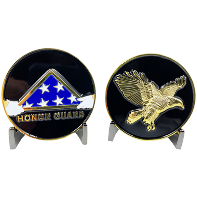 CL-II Honor Guard Challenge Coin Police Military Folded Flag Eagle
