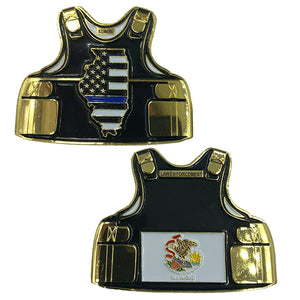 Illinois LEO Thin Blue Line Police Body Armor State Flag Challenge Coins
