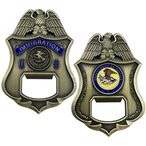 DL3-04 INS Challenge Coin Bottle Opener Legacy Immigration Inspector Special Agent DOJ not CBP