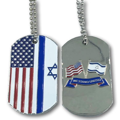 I-002 American Flag and Israeli Flag Dog Tags Challenge Coin United We Stand