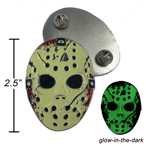 Jason Voorhees Goalie Mask Friday the 13th inspired pin glows in the dark