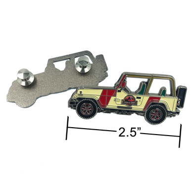 EE-009 Jurassic Park inspired Jeep pin (2.5 inch with 2 pin posts and spring loaded clasps)