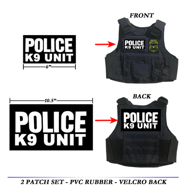 K9 UNIT Body Armor Bullet Proof Ballistic vest Tactical PVC Rubber Patch set POLICE LAW ENFORCEMENT patches CBP