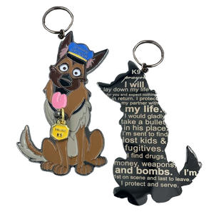 LL-007 K9 Prayer keychain for Canine Officer challenge coin style police