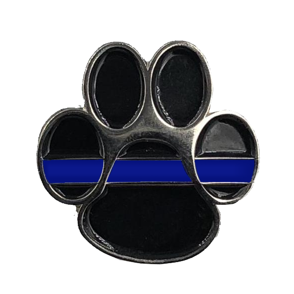 CL5-003 K9 Paw Thin Blue Line Canine Lapel Pin