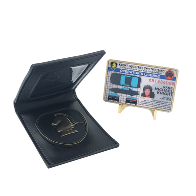 Knight Rider badge in leather wallet with KITT Operator License on Metal Card (challenge coin)