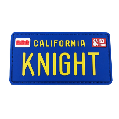 KK-016 KNIGHT Rider License Plate PVC Patch with hook and loop KITT