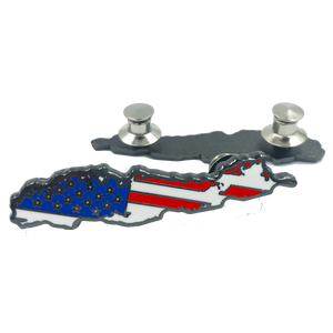 LL-009 Long Island US Flag Lapel Pin Cloisonné double pin back Strong Island