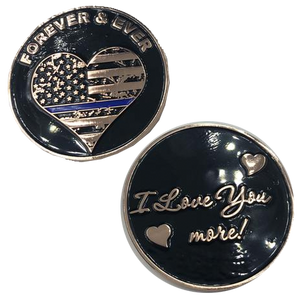 J-001 Thin Blue Line I Love You More, Forever and Ever rose gold heart flag Police Challenge Coin
