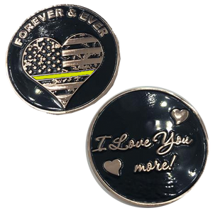 Thin Gold Line I Love You More, Forever and Ever rose gold heart flag Dispatcher Challenge Coin yellow