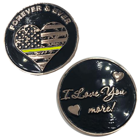 M-15 Thin Gold Line I Love You More, Forever and Ever rose gold heart flag Dispatcher Challenge Coin yellow