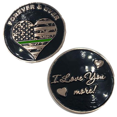 Thin Green Line Heart I Love You More, Forever and Ever rose gold flag Border Patrol Challenge Coin