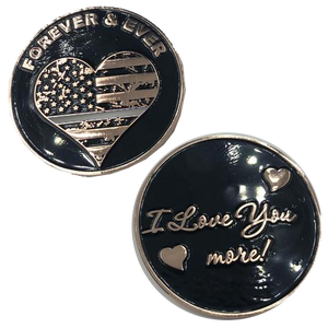 Thin Gray Line Heart I Love You More, rose gold flag Correctional Officer Correctins Challenge Coin