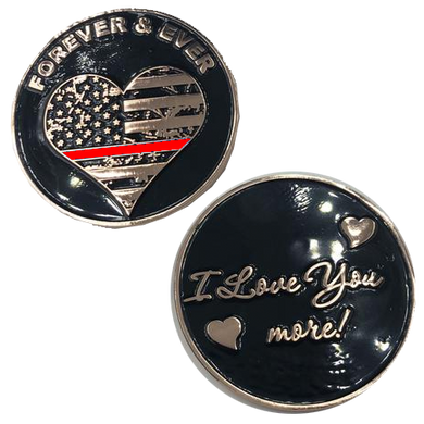 Thin Red Line Heart I Love You More, Forever and Ever rose gold flag Fire Fighter Challenge Coin