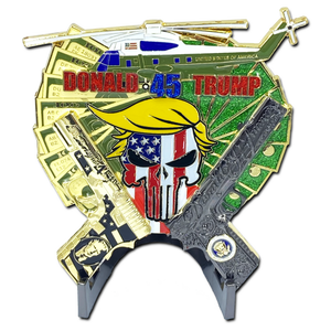 MC-004 Yuge Glock and 1911 American Flag Donald Trump POTUS MAGA Marine One 1 helicopter Challenge Coin