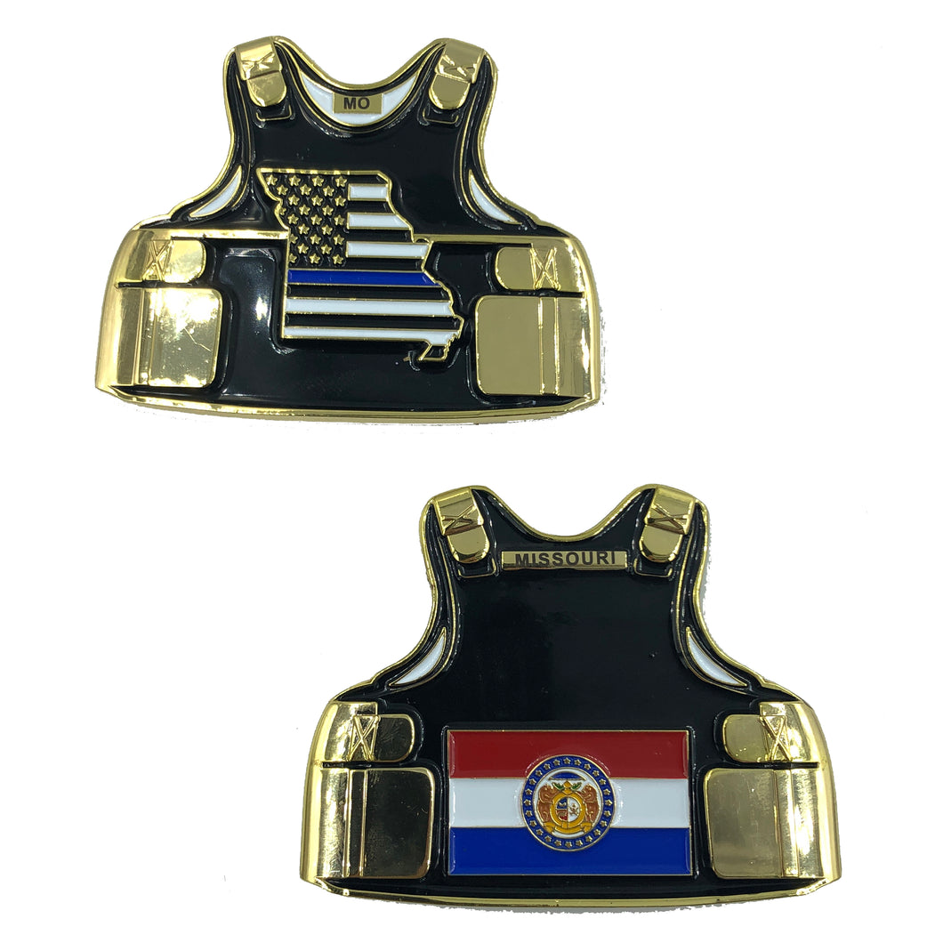 D-016 Missouri LEO Thin Blue Line Police Body Armor State Flag Challenge Coins