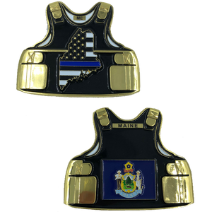Maine LEO Thin Blue Line Police Body Armor State Flag Challenge Coins