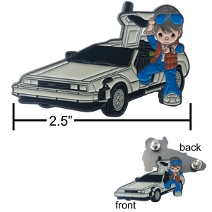 HH-017 Marty McFly DeLorean Back to the Future Pin with two posts and deluxe spring loaded clasps