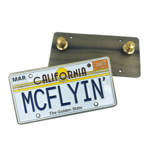 MCFLYIN Back to the Future License Plate Medallion Pin with dual pin backs Marty MyFly OUTATIME alternative