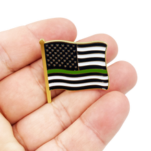 "Thin Green Line American Waving Flag Lapel Pin 1.25"" with 2 pin posts and deluxe clasps, U.S. Stars are Stripes, Old Glory US USA Border Patrol Marines Army Deputy Sheriff"