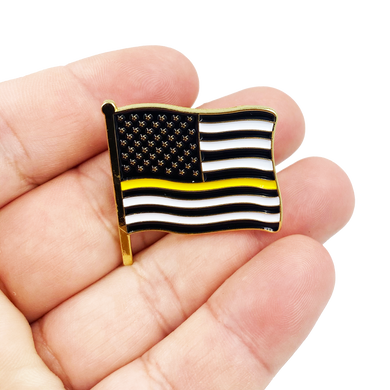 Dispatcher Thin Gold Line American Waving Flag Lapel Pin 1.25