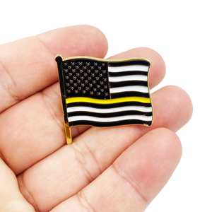 "Dispatcher Thin Gold Line American Waving Flag Lapel Pin 1.25"" with 2 pin posts and deluxe clasps, U.S. Stars are Stripes, Old Glory US USA Yellow 911 Emergency"