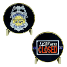 G-013 MINNEAPOLIS POLICE DEPARTMENT PD MPD WALK OFF BLUE FLU CHALLENGE COIN SORRY WE'RE CLOSED