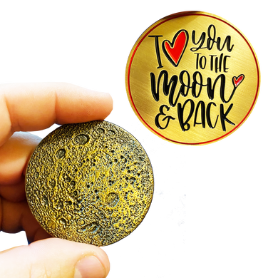 I Love You to the Moon and Back Heart Challenge Coin Medallion with 3D Moon