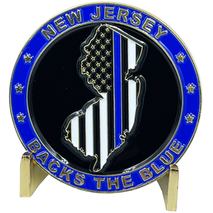 BL3-004 New Jersey NJ BACKS THE BLUE Thin Blue Line Police Challenge Coin with free matching State Flag pin back the blue Sheriff NJSP Newark trooper