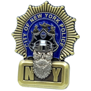 EL1-013 NYPD Detective Beard Gang Skull Challenge Coin Thin Blue Line Back the Blue New York City Police Department