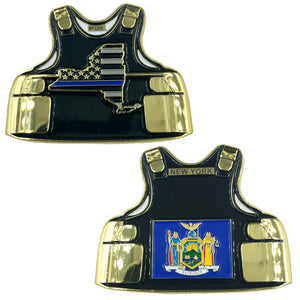 D-018 New York NY LEO Thin Blue Line Police Body Armor State Flag Challenge Coins