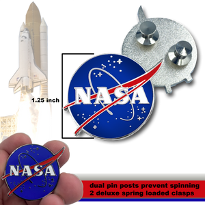 CC-008 NASA Pin with dual pin posts and deluxe pin clasps