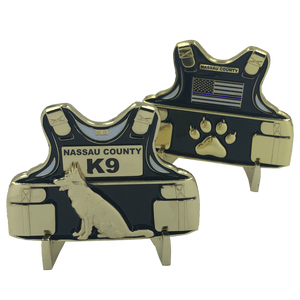 CL9-02 Nassau County Police Department Long Island New York K9 Body Armor Challenge Coin Canine NY NCPD Sheriff's Office