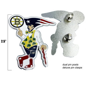 II-020 Boston Guy Sports Man Massachusetts Bruins Patriots Celtics Red Rox Challenge Coin Pin Cloisonné