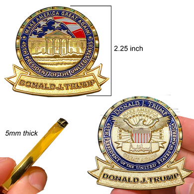 J-023 President Donald J. Trump 45 MAGA Make America Great POTUS White House Challenge Coin