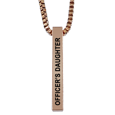 Officer's Daughter Rose Gold Plated Pillar Bar Pendant Necklace Gift Mother's Day Christmas Holiday Anniversary Police Sheriff Officer First Responder Law Enforcement