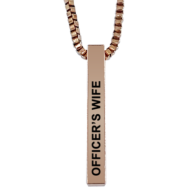 Officer's Wife Rose Gold Plated Pillar Bar Pendant Necklace Gift Mother's Day Christmas Holiday Anniversary Police Sheriff Officer First Responder Law Enforcement