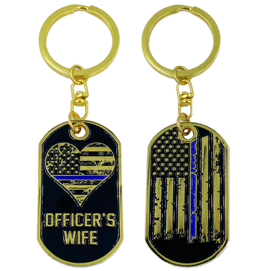 AA-009 Police Officer's Wife Thin Blue Line American Flag Challenge Coin Keychain