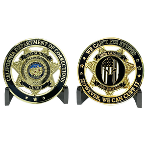 EL3-020 Old School Prison Jail Guard Challenge Coin Correctional Officer CO California Department of Corrections CDC thin gray line gladiator police