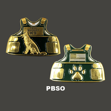 PBSO K9 Body Armor Challenge Coin Canine Palm Beach Sheriff's Office