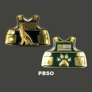 L-04 PBSO K9 Body Armor Police Challenge Coin Canine Palm Beach Sheriff's Office