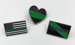 Green Line Pin Set: 3 Law Enforcement Police Pins for $5