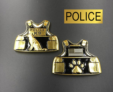 Police K9 Body Armor Challenge Coin Canine