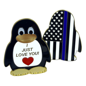 "CL2-05 Penguin ""I Just Love You"" Police Thin Blue Line challenge coin Sheriff Deputy Officer"