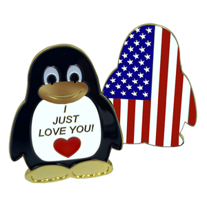 "CL2-07 Penguin ""I Just Love You"" U.S. Flag Challenge Coin American Valentines Day Girlfriend Wife Husband Boyfriend"