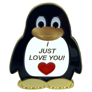 "CL2-08 Penguin ""I Just Love You"" pin with dual pin posts and deluxe safety locking clasps"